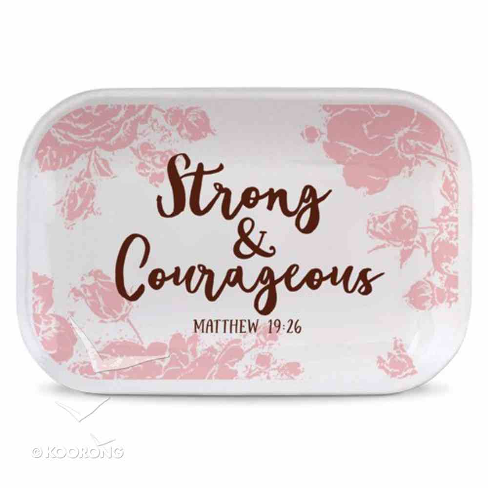 Ceramic Rectangle Tray Pretty Prints: Strong & Courageous, Pale Pink/White (Matthew 19:26) Homeware
