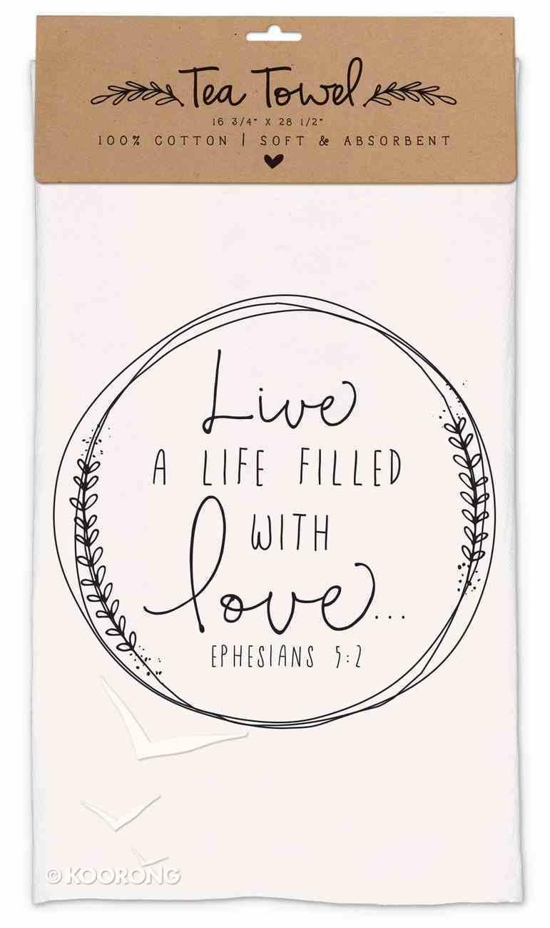 Cotton Tea Towel Hand Drawn Doodles: Love (Ephesians 5:2) Homeware