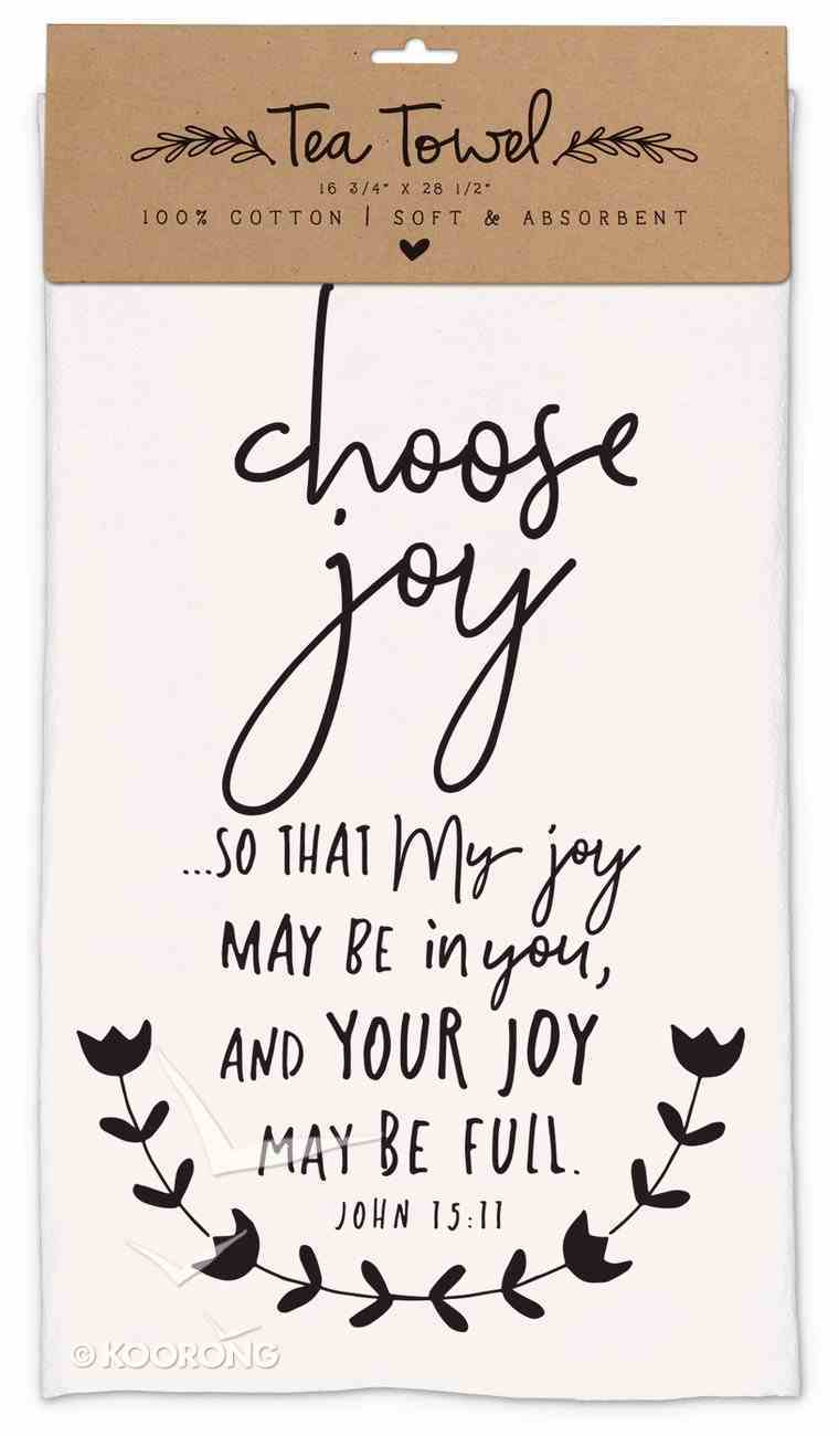 Cotton Tea Towel Hand Drawn Doodles: Choose Joy (John 15:11) Homeware