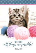 Notepad: With God All Things Are Possible (Kitten With Balls Of Yarn) Stationery