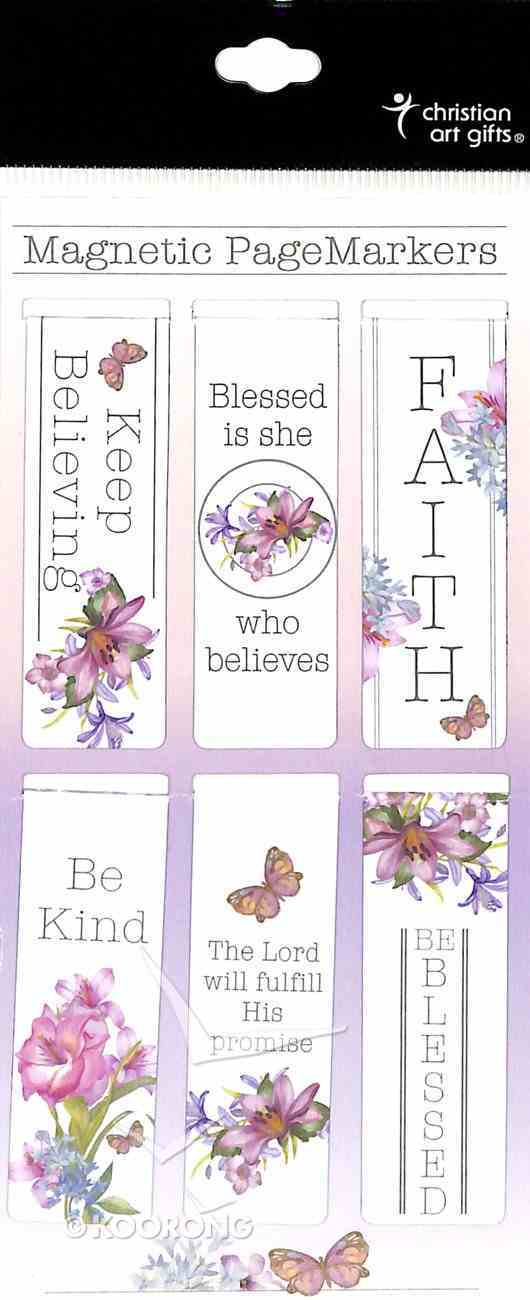 Bookmark Magnetic: Blessed is She Who Believes, Floral (Set Of 6) Stationery