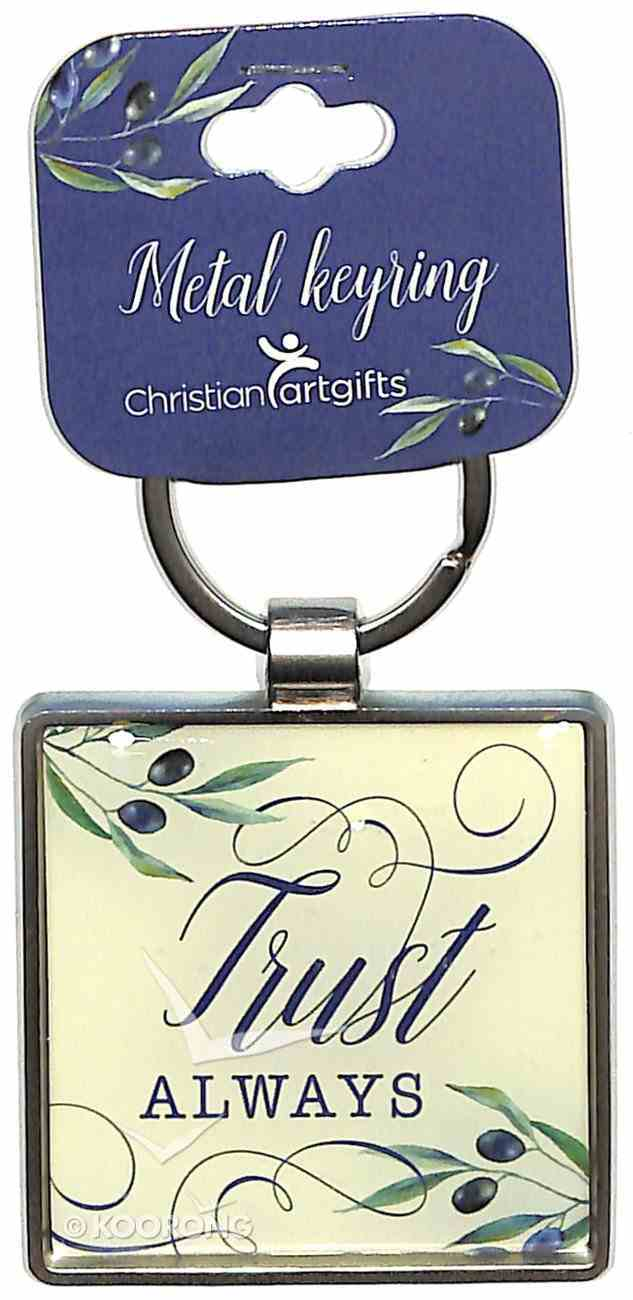 Metal Keyring: Trust Always, White/Blue Olive Branch Jewellery