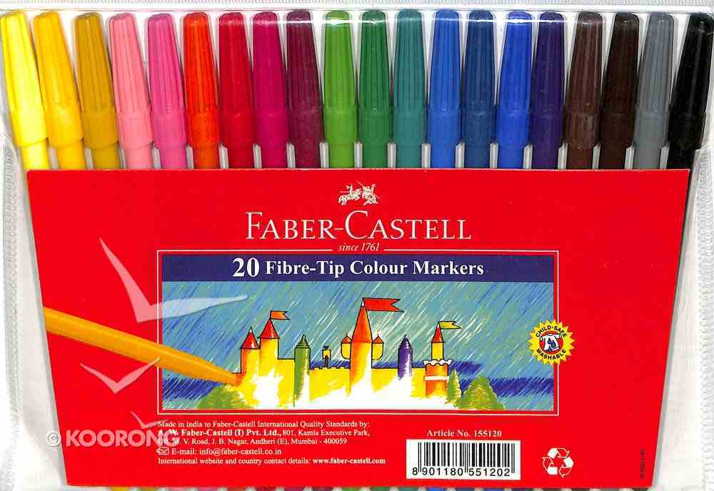 Faber-Castell Fibre-Tip Colour Markers Wallet of 20 Stationery