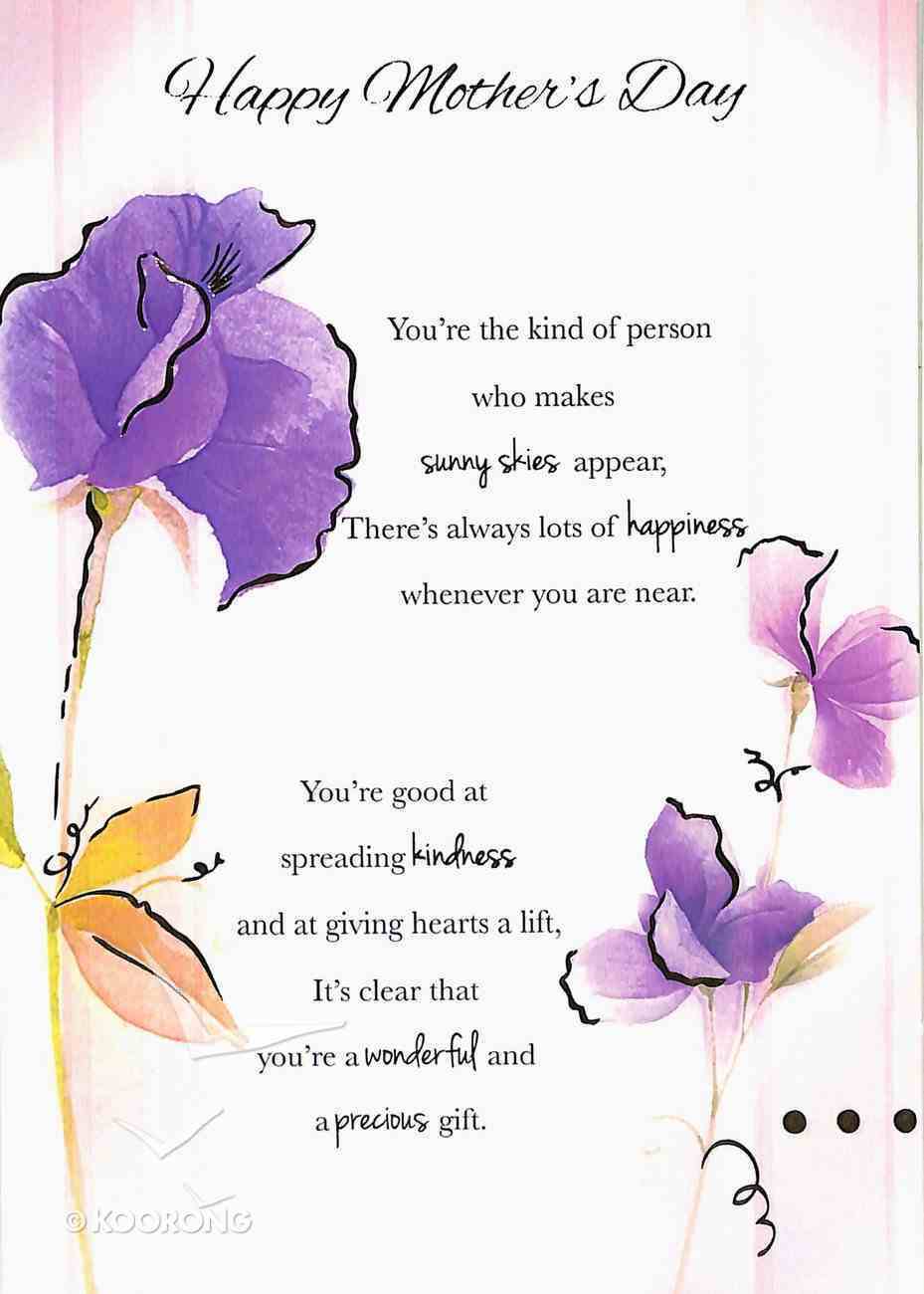 Happy Mother's Day (Purple Flowers, Gold Letters) Cards
