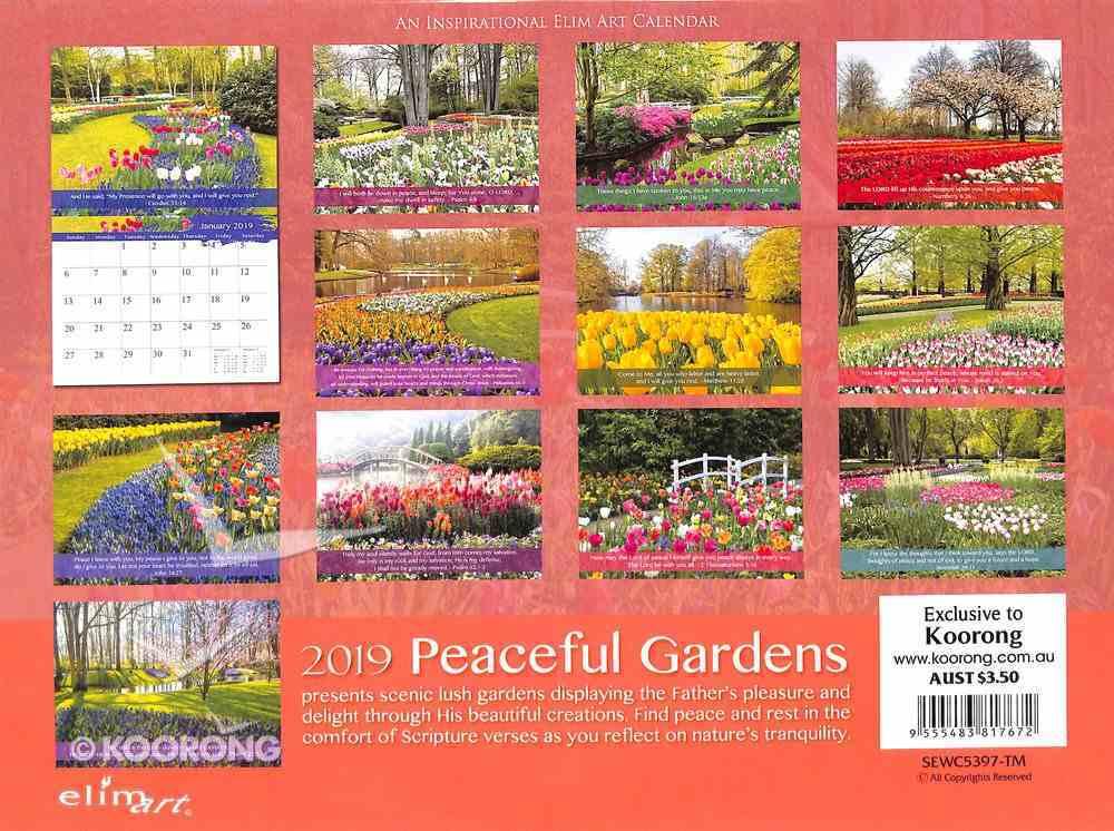 2019 Wall Calendar: Peaceful Gardens Calendar