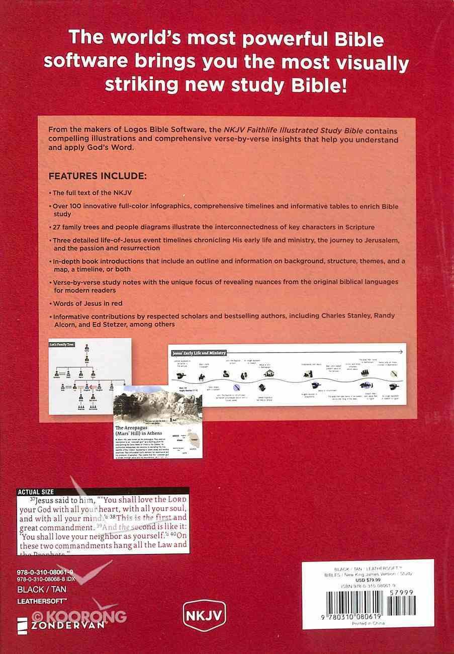 NKJV Faithlife Illustrated Study Bible Black/Tan (Red Letter Edition) Premium Imitation Leather
