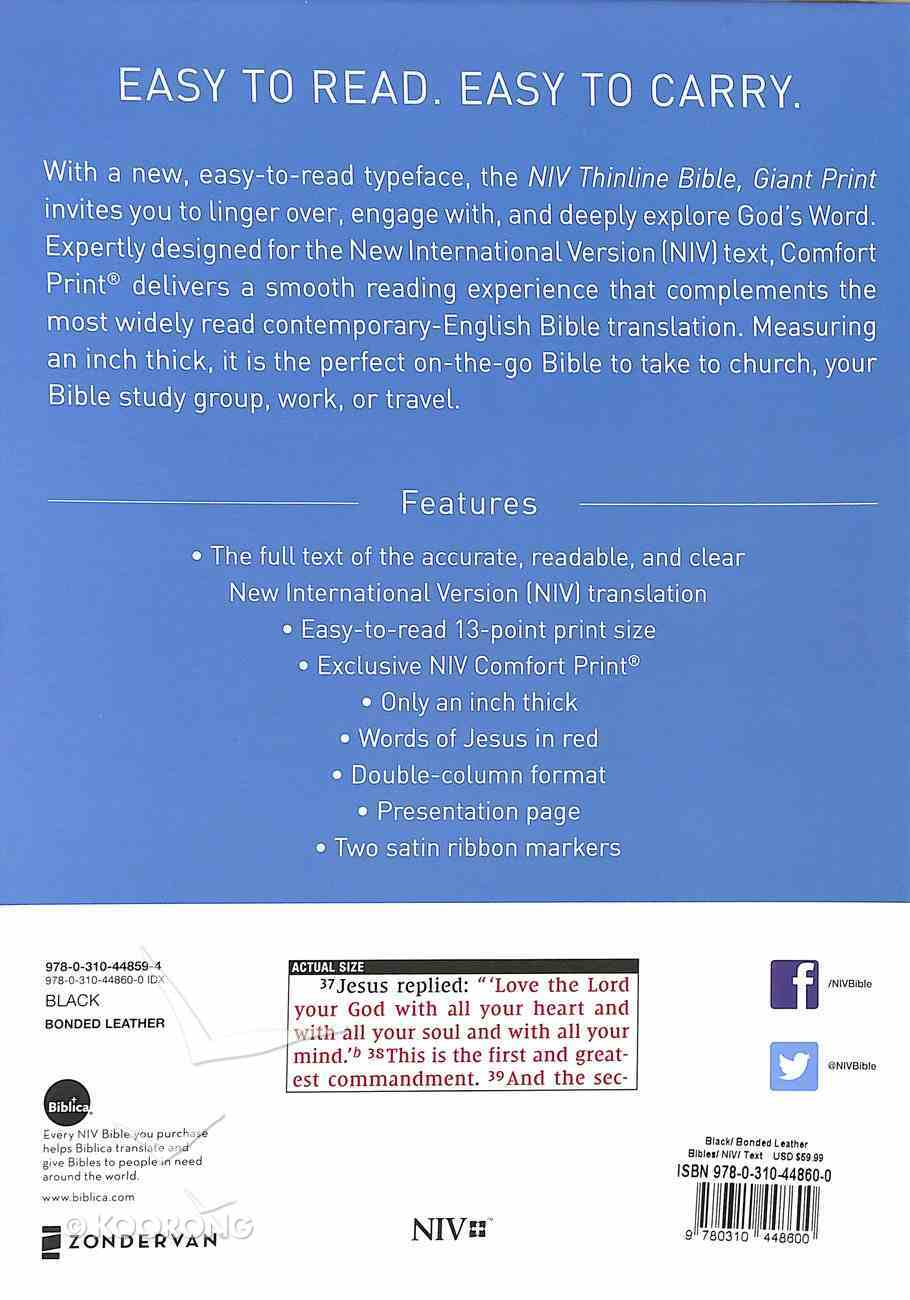NIV Thinline Bible Giant Print Black Indexed (Red Letter Edition) Bonded Leather