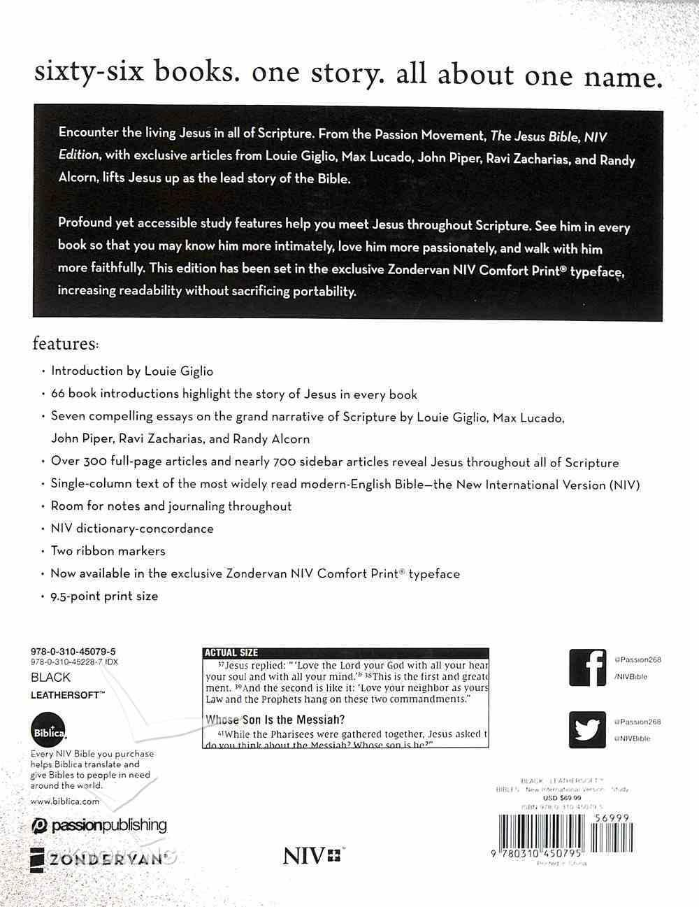 NIV the Jesus Bible Black Comfort Print Edition (Black Letter Edition) Premium Imitation Leather