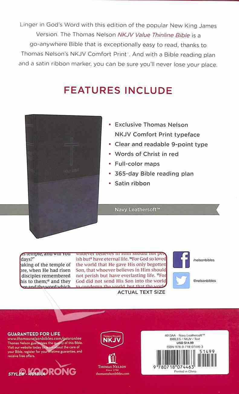 NKJV Value Thinline Bible Blue (Red Letter Edition) Premium Imitation Leather