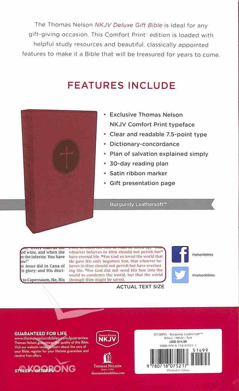 NKJV Deluxe Gift Bible Burgundy (Red Letter Edition) Premium Imitation Leather