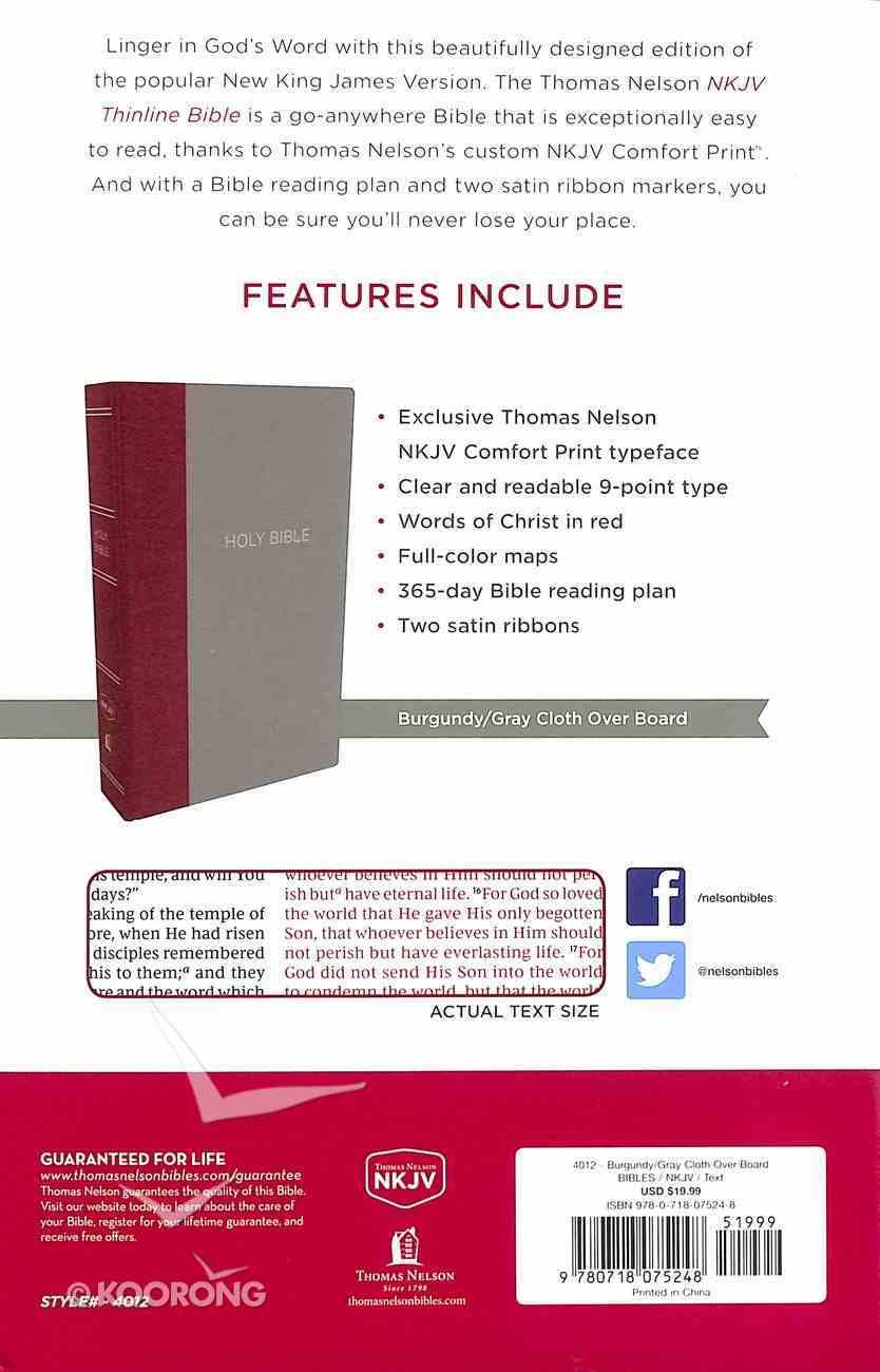 NKJV Thinline Bible Burgundy/Gray (Red Letter Edition) Hardback