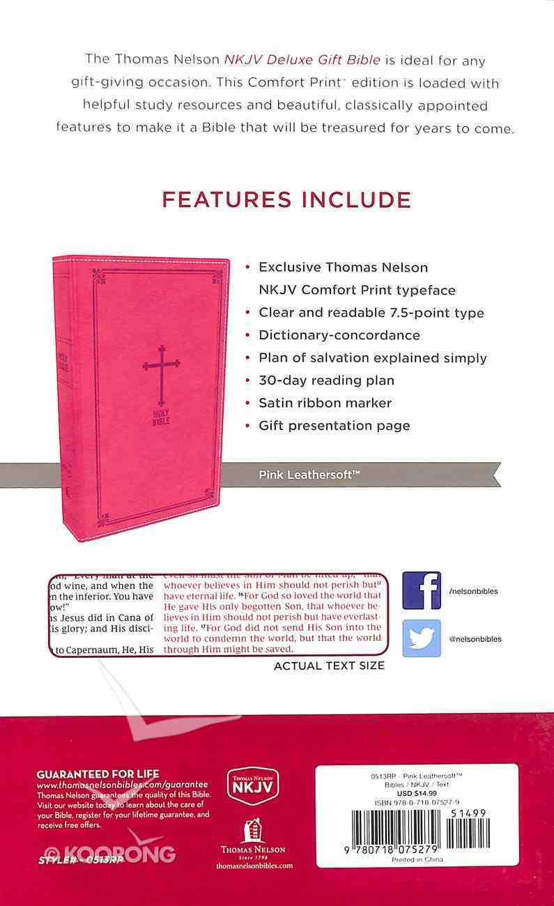 NKJV Deluxe Gift Bible Pink Red Letter Edition Premium Imitation Leather