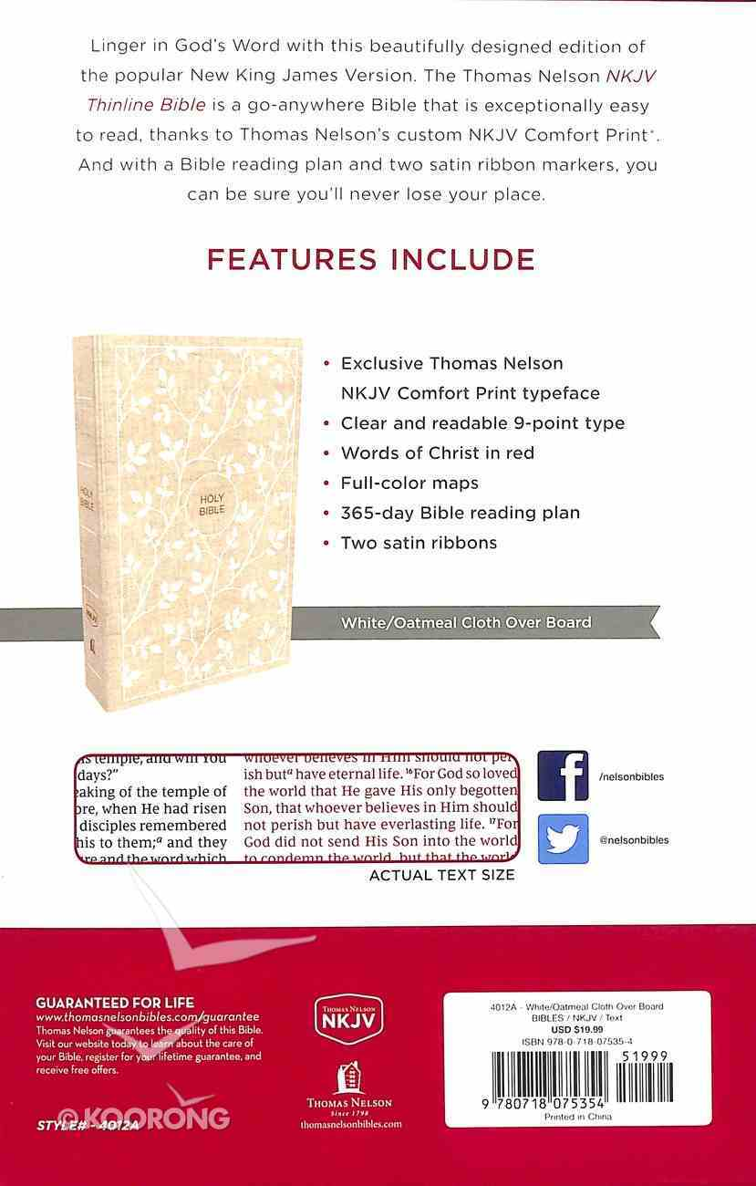 NKJV Thinline Bible White/Tan (Red Letter Edition) Hardback
