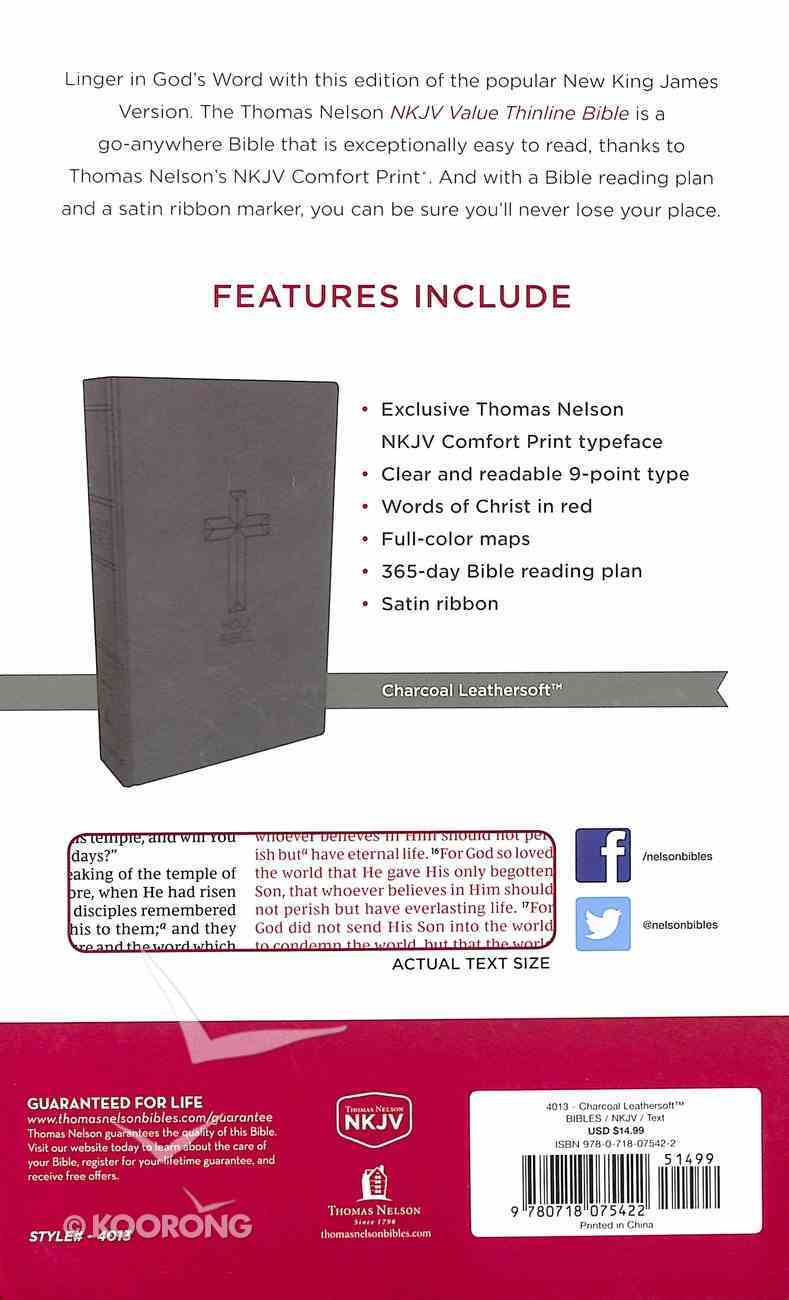 NKJV Value Thinline Bible Charcoal (Red Letter Edition) Premium Imitation Leather