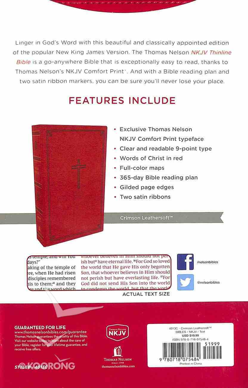 NKJV Thinline Bible Red (Red Letter Edition) Premium Imitation Leather
