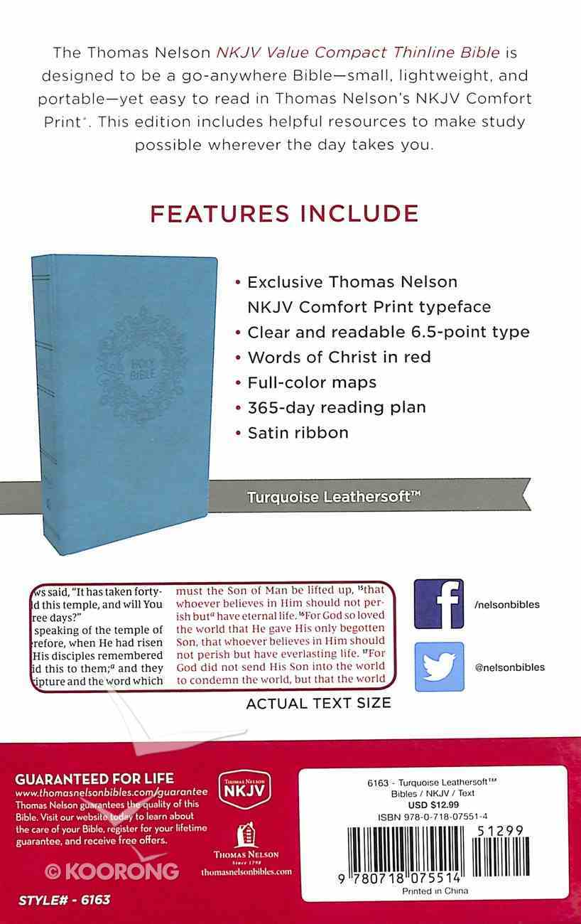 NKJV Value Thinline Bible Compact Turquoise (Red Letter Edition) Premium Imitation Leather