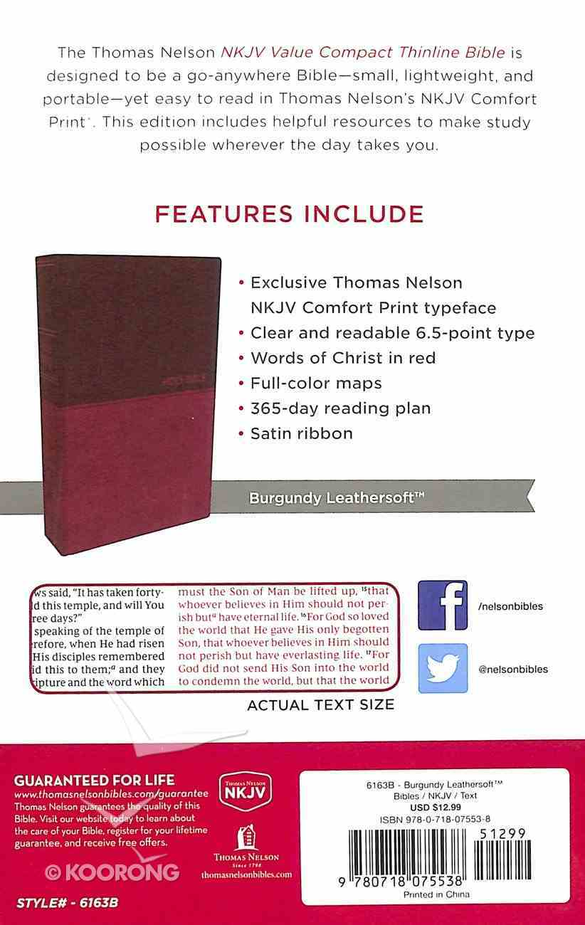 NKJV Value Thinline Bible Compact Burgundy (Red Letter Edition) Premium Imitation Leather