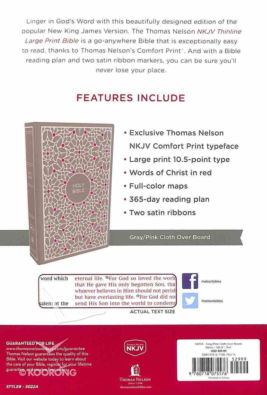 NKJV Thinline Bible Large Print Gray/Pink (Red Letter Edition) Hardback
