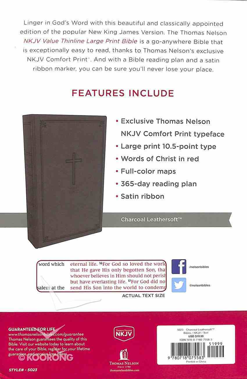 NKJV Value Thinline Bible Large Print Charcoal (Red Letter Edition) Premium Imitation Leather