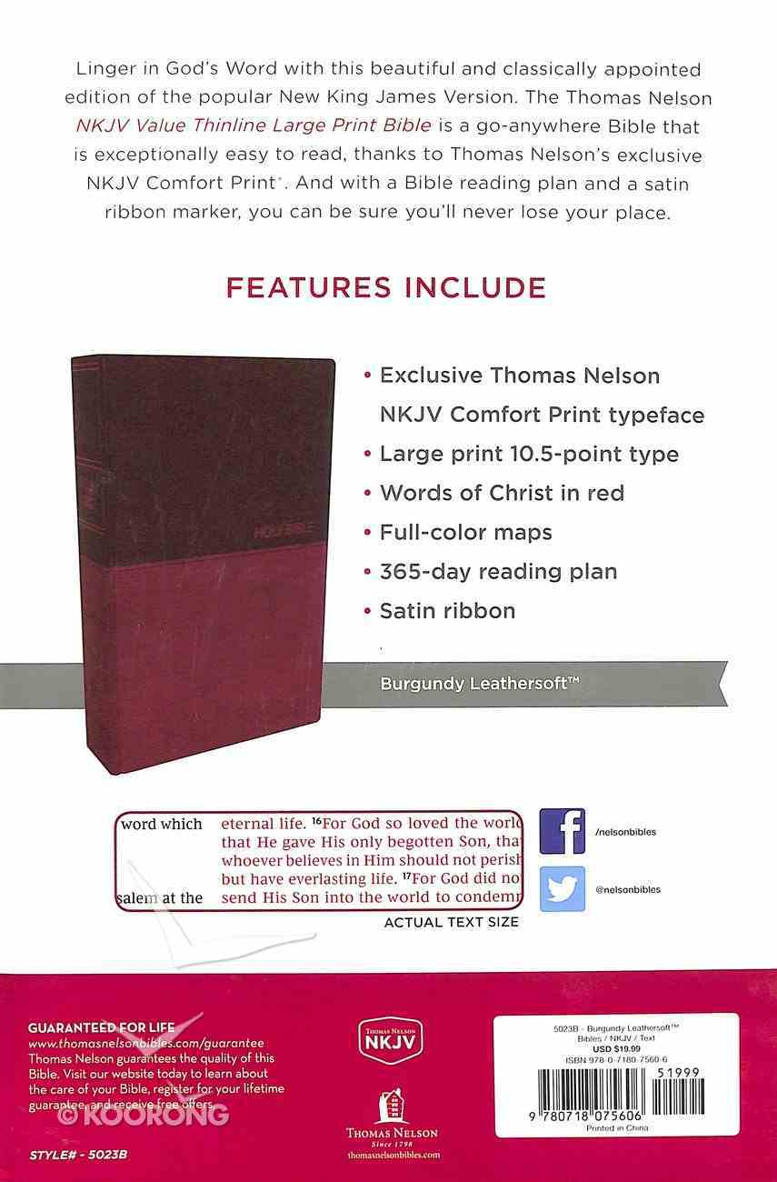 NKJV Value Thinline Bible Large Print Burgundy (Red Letter Edition) Premium Imitation Leather
