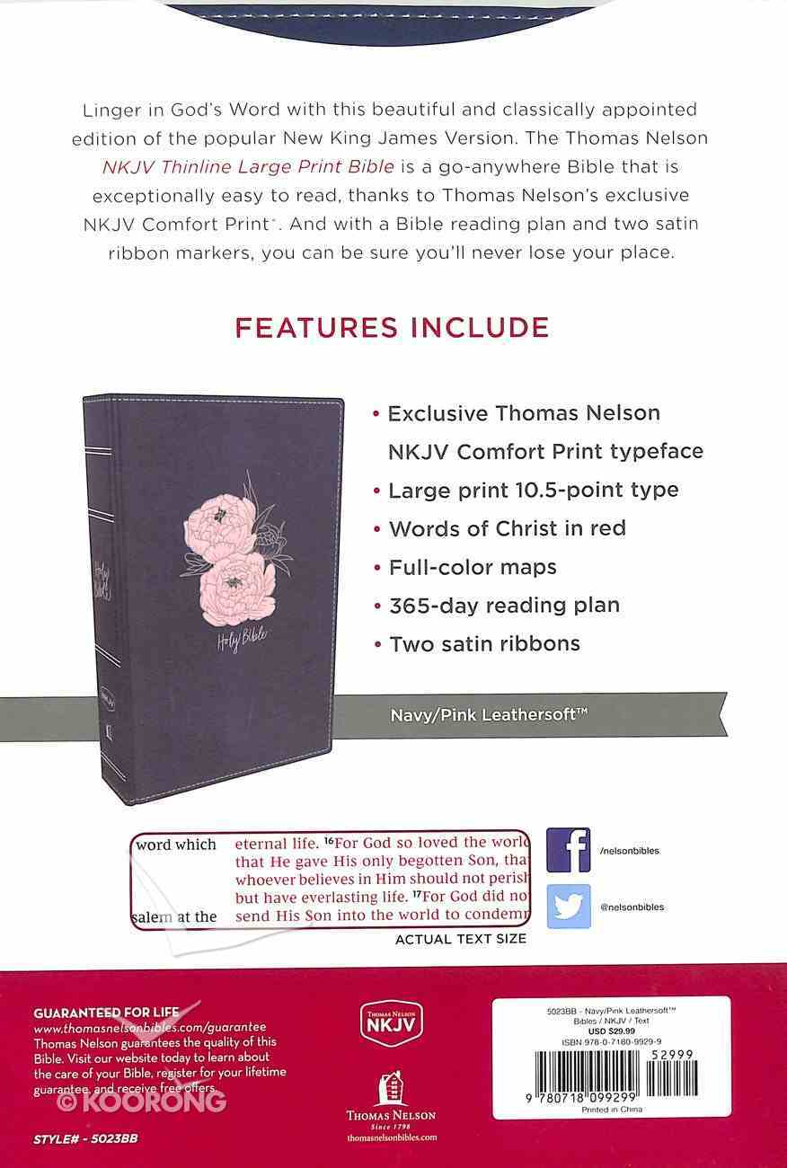 NKJV Thinline Bible Large Print Blue/Pink Flower (Red Letter Edition) Premium Imitation Leather