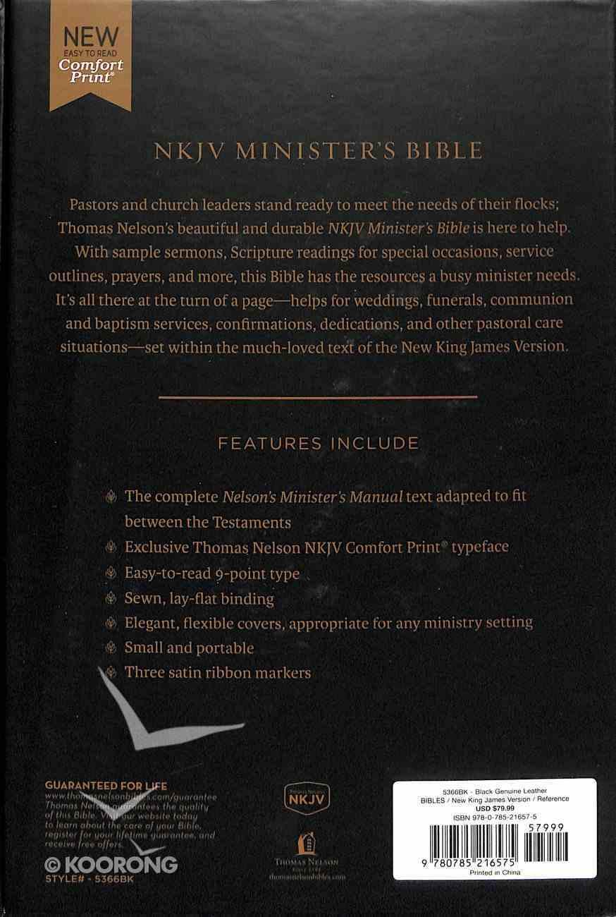 NKJV Minister's Bible Black (Red Letter Edition) Genuine Leather