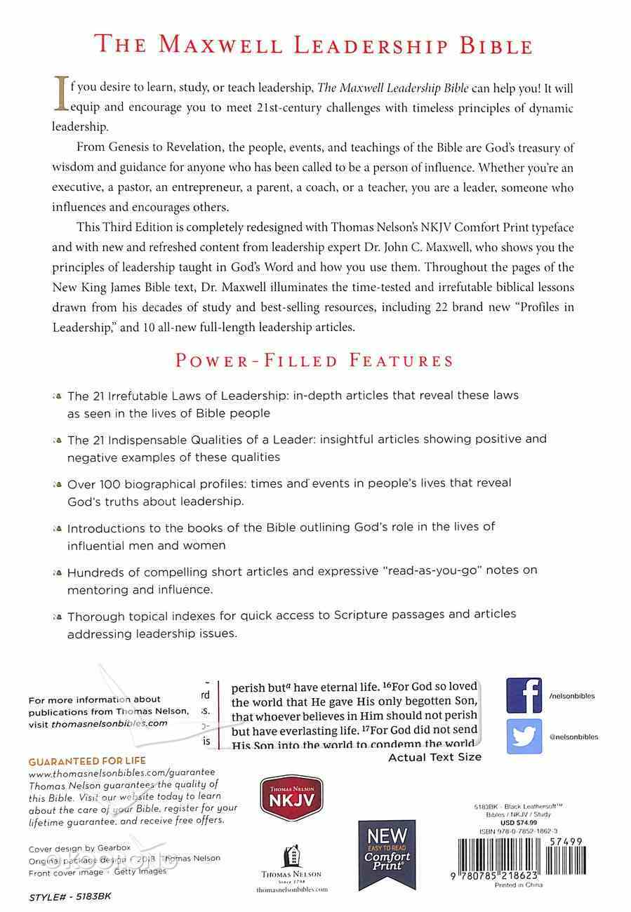 NKJV Maxwell Leadership Bible Black (Third Edition) Imitation Leather