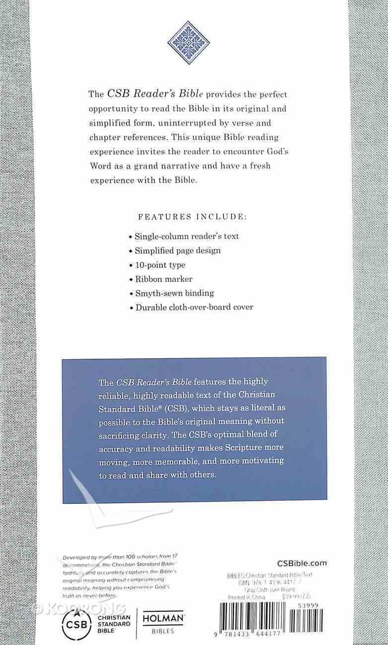 CSB Reader's Bible Gray Hardback