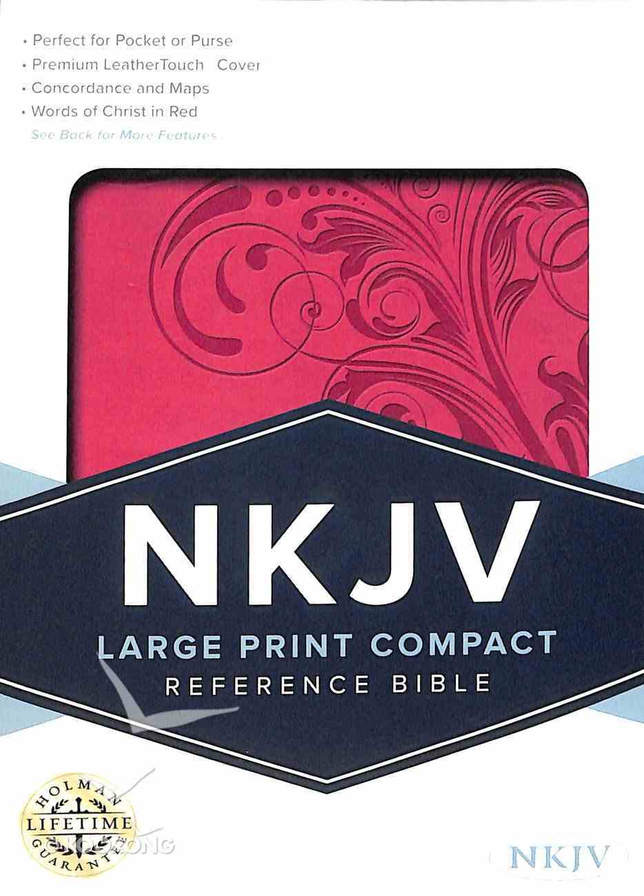 NKJV Large Print Compact Reference Bible Pink Imitation Leather