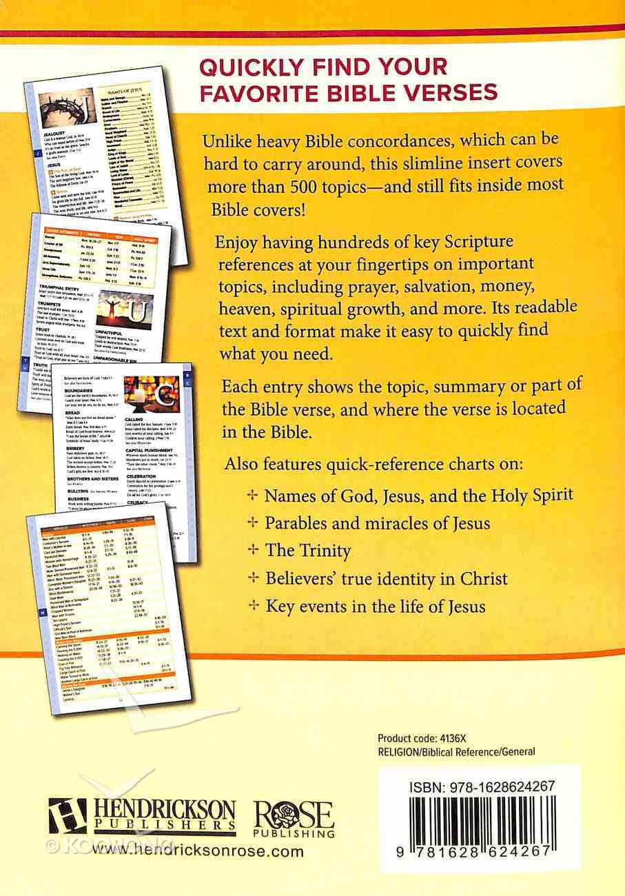 Topical Index: Bible Insert, Ultra-Slim Bible Tools Paperback