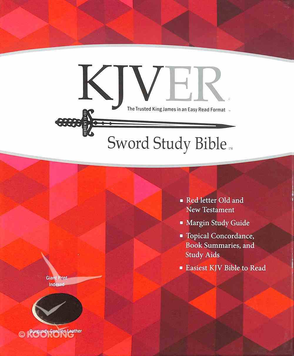 Kjver Sword Study Bible Giant Print Burgundy Indexed (Red Letter Edition) Genuine Leather