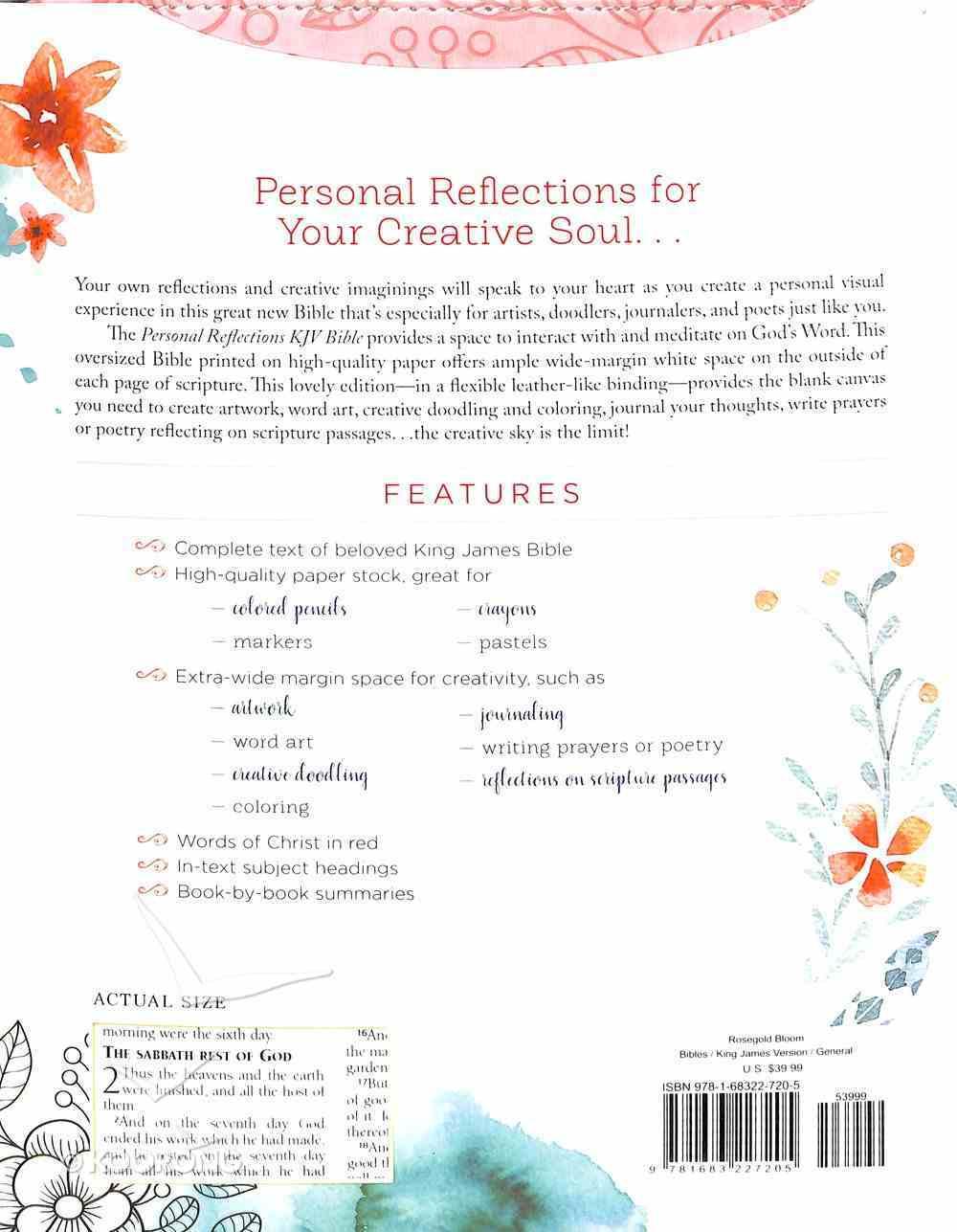 KJV Personal Reflections Bible Rosegold Bloom Imitation Leather