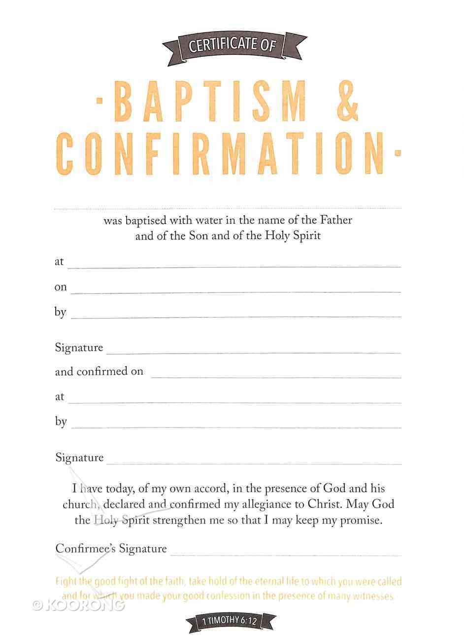 Certificate of Baptism & Confirmation (1 Timothy 6: 12) Stationery