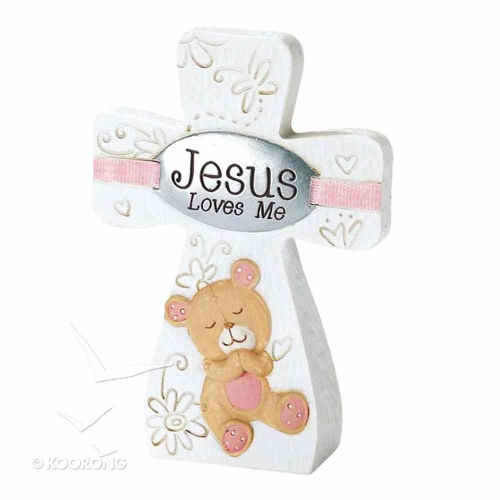 Tabletop Cross: Jesus Loves Me - Girl (Pink/white) Plaque