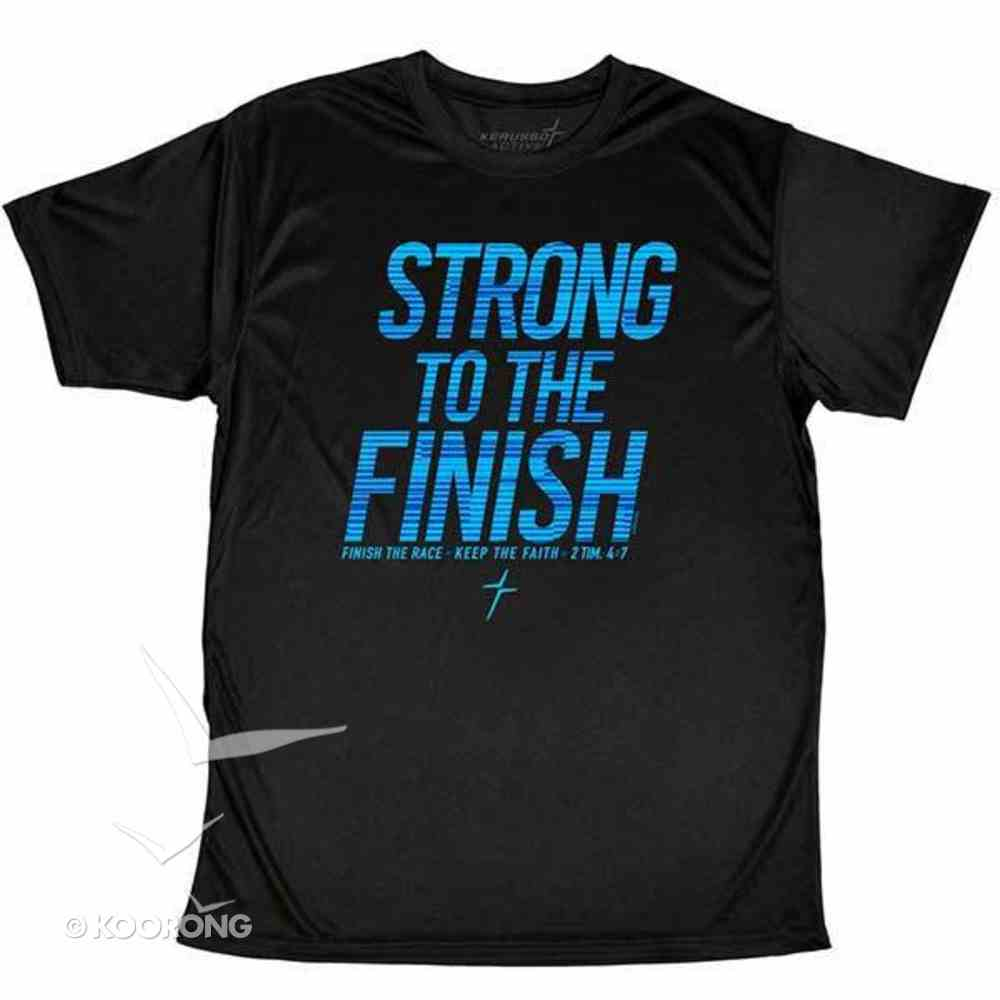 Men's Activewear T-Shirt: Strong to the Finish Medium, Black/Bright Blue (2 Timothy 4:7) Soft Goods