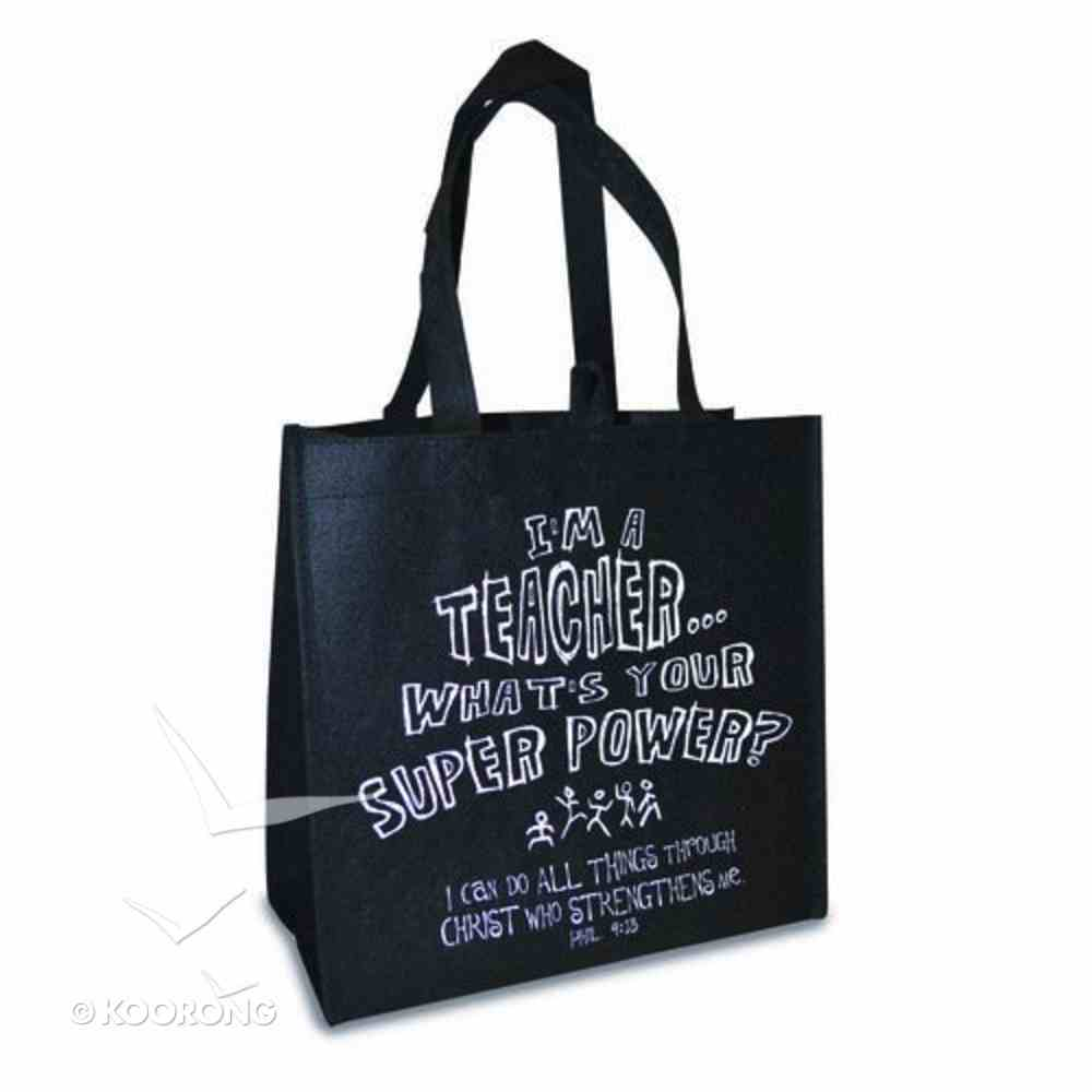 Reusable Shopping Bag: I'm a Teacher (Black With Navy Sides) Soft Goods