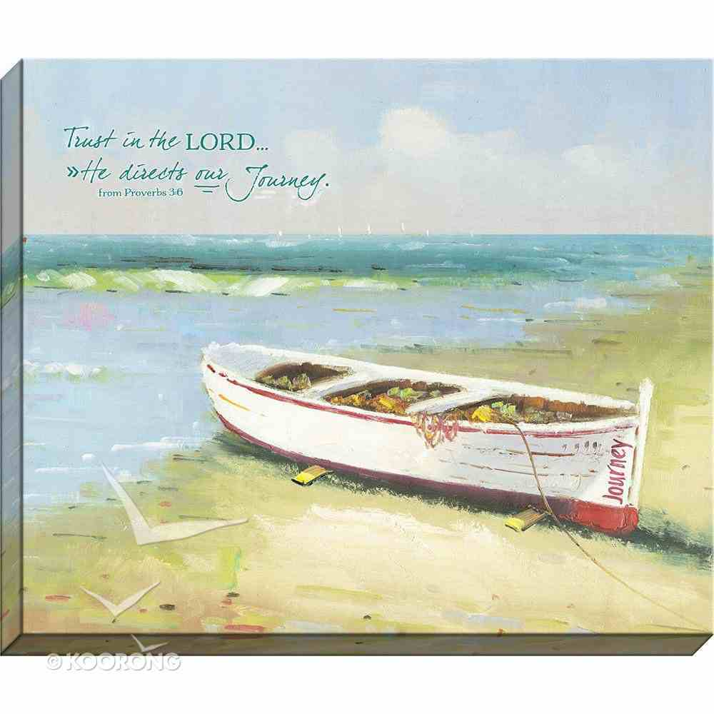 Canvas Wall Art: Trust in the Lord, Boat on Water's Edge Plaque