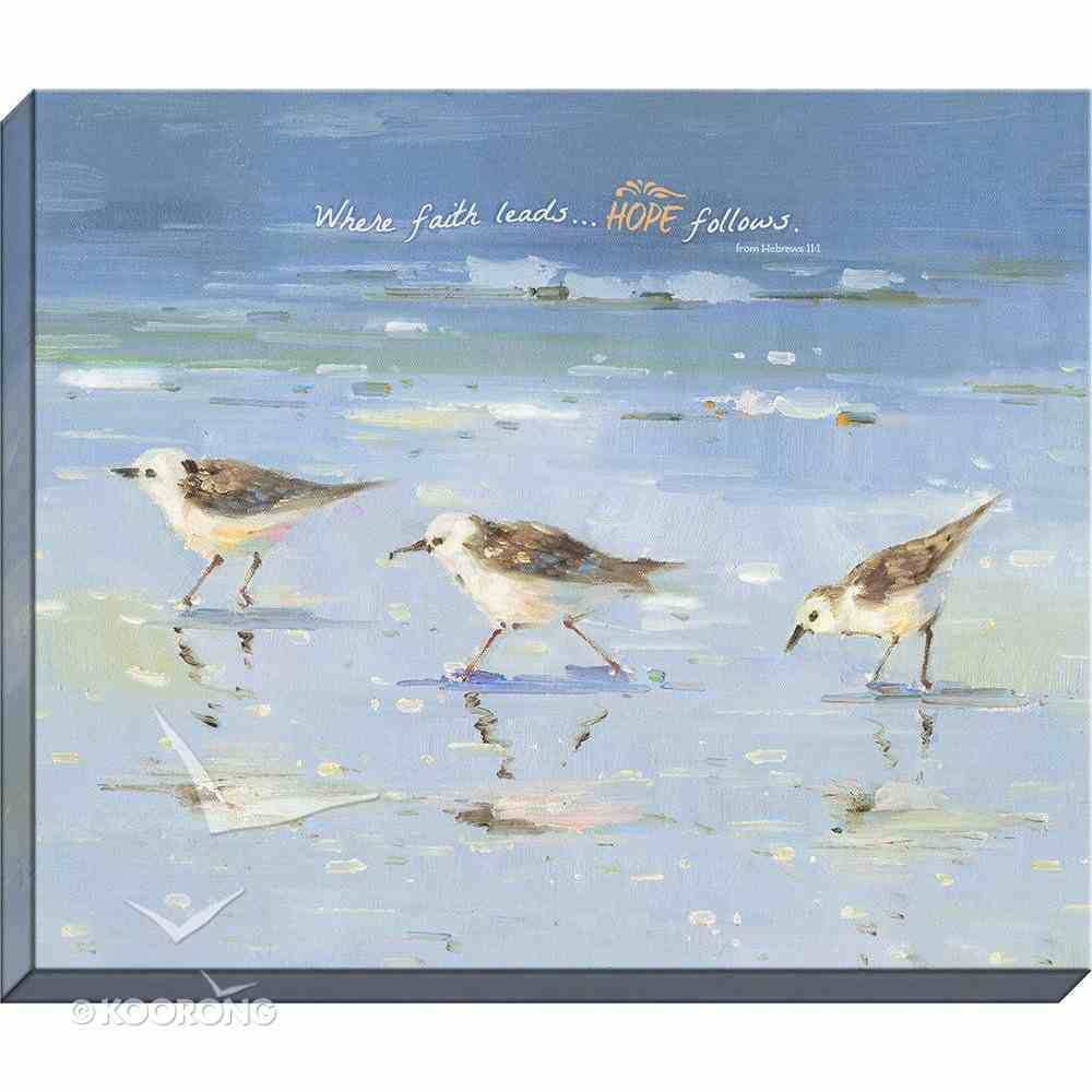 Canvas Wall Art: Where Faith Leads... Seagulls Playing in the Ocean Plaque