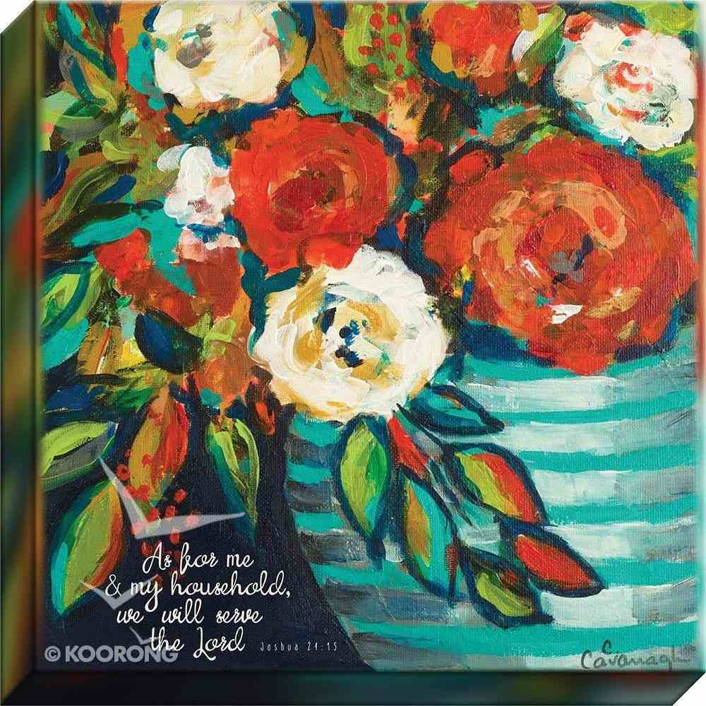 Canvas Wall Art: As For Me and My Household.... Floral Bouquet Plaque