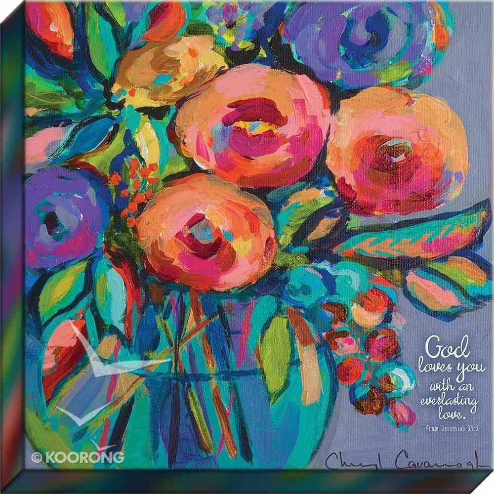 Canvas Wall Art: God Loves You With An Everlasting Love, Floral Bouquet in Vase/Purple Background Plaque
