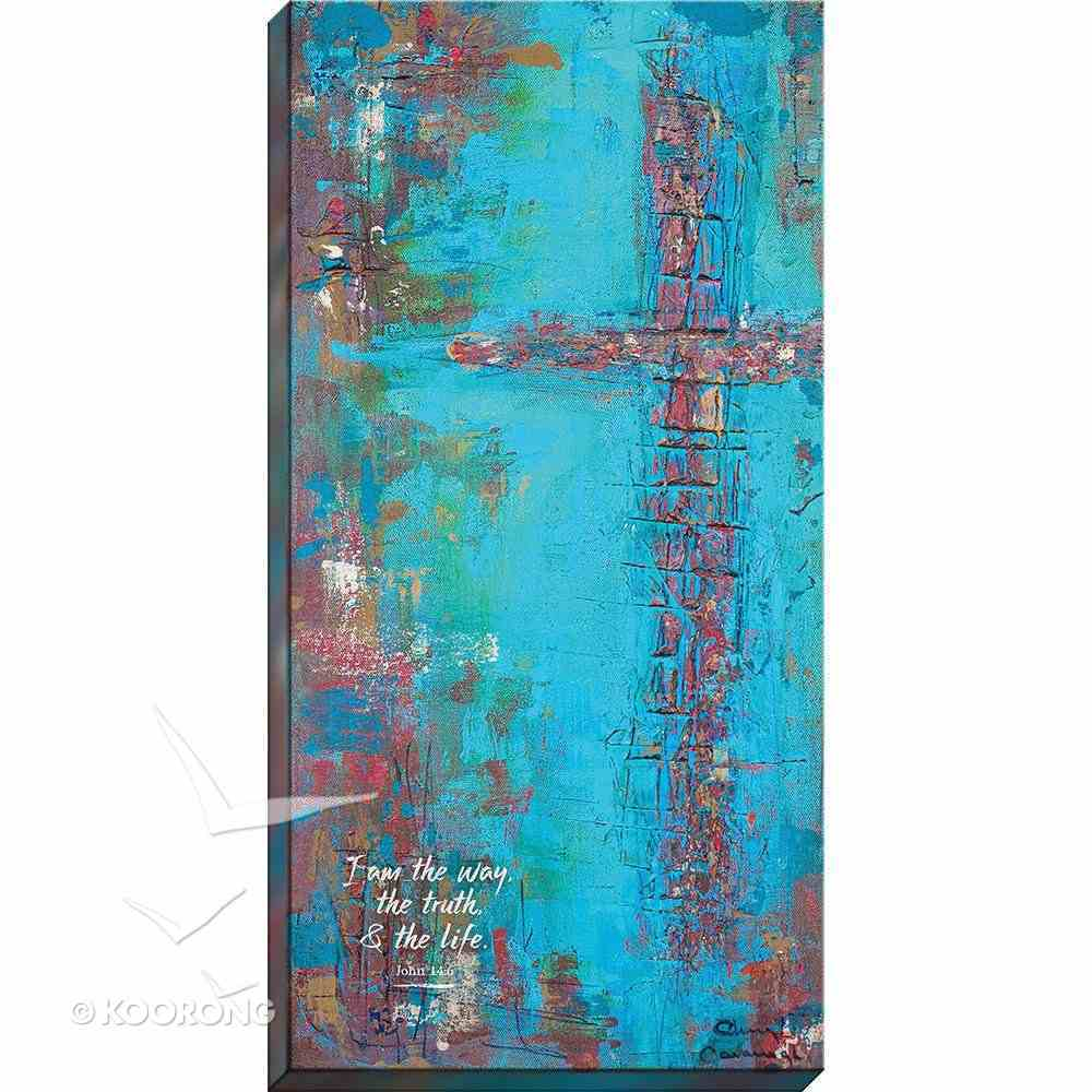 Canvas Wall Print: I Am the Way, the Truth and the Life...Brown Cross/Blue Background Plaque