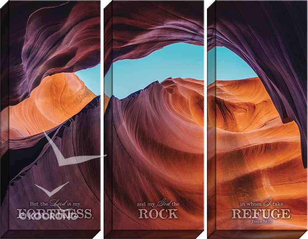 Canvas Wall Art: The Lord is My Fortress , Desert/Rocks (Set Of 3) Plaque