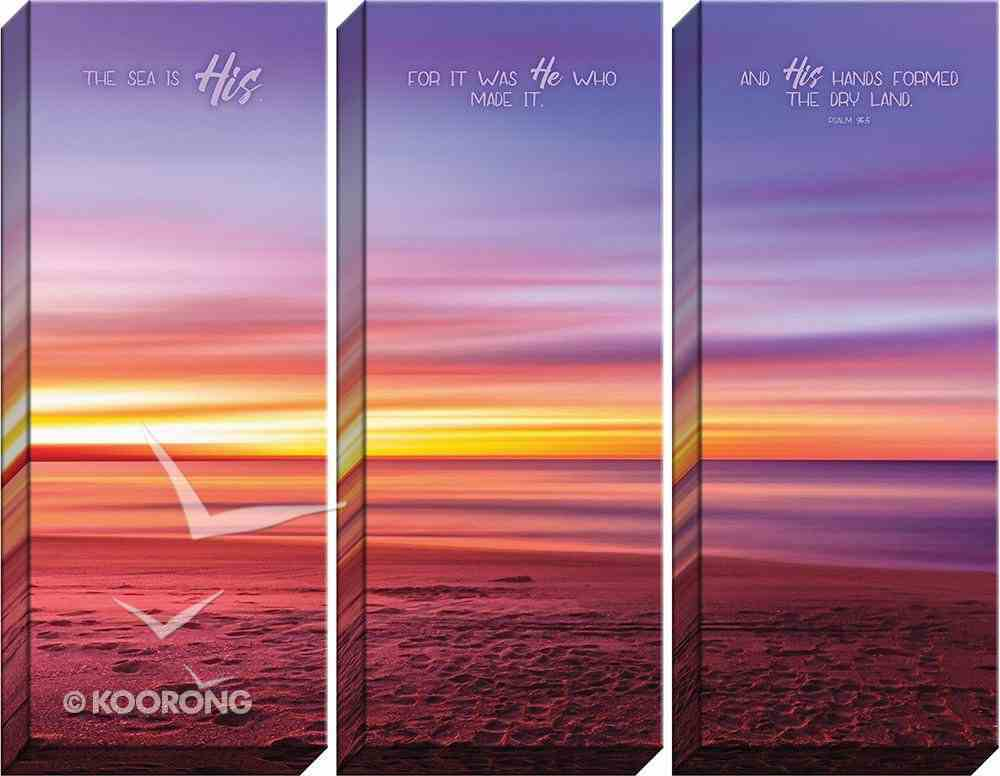 Canvas Wall Art: The Sea is His , Ocean At Sunset (Set Of 3) Plaque