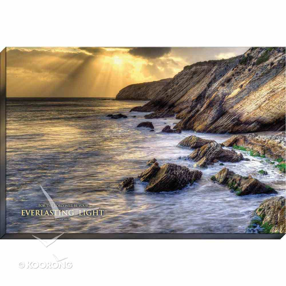 Canvas Wall Art: For the Lord Will Be Your Everlasting Light, Water Crashing on Rocks Plaque