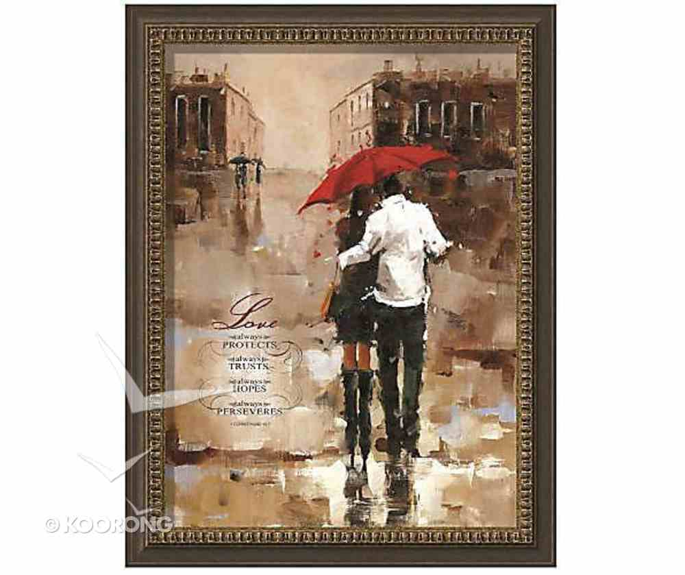 Framed Art Print: Love Always Protects....Couple Walking in the Rain Plaque