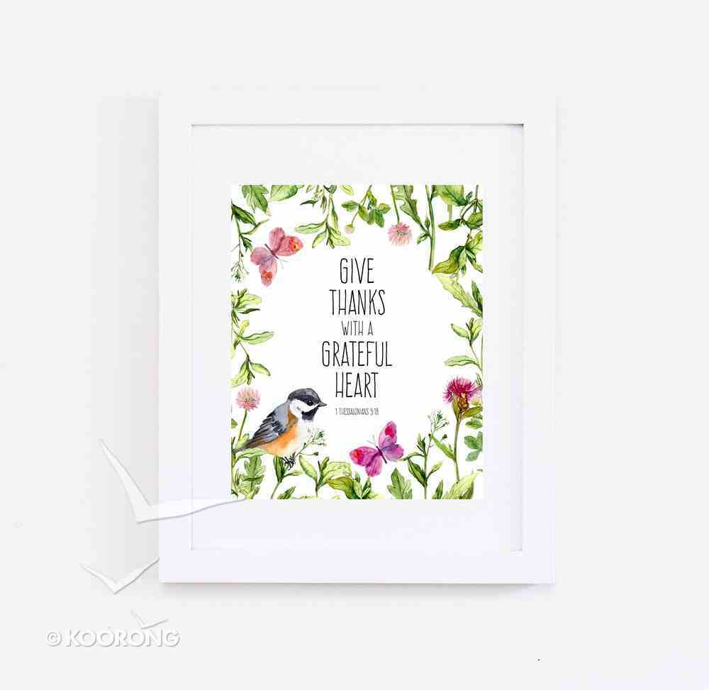 Medium Framed Print: Watercolour Bird, Give Thanks, 1 Thessalonians 5:18 Plaque