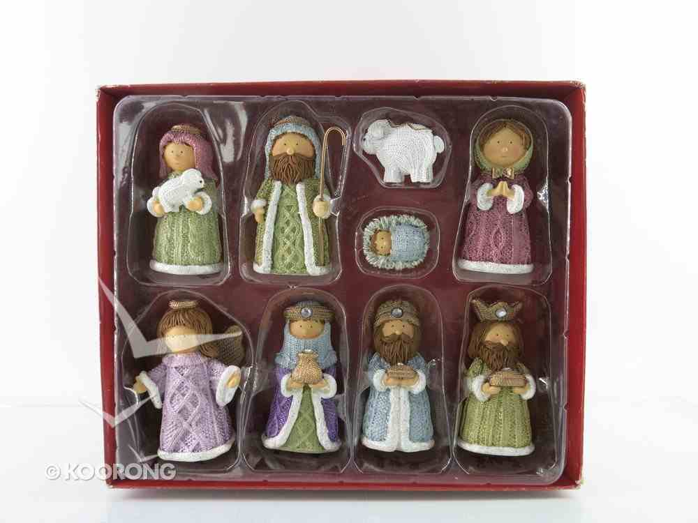 Resin Knitted Finish Nativity Set of 9 Pastel Colors Homeware
