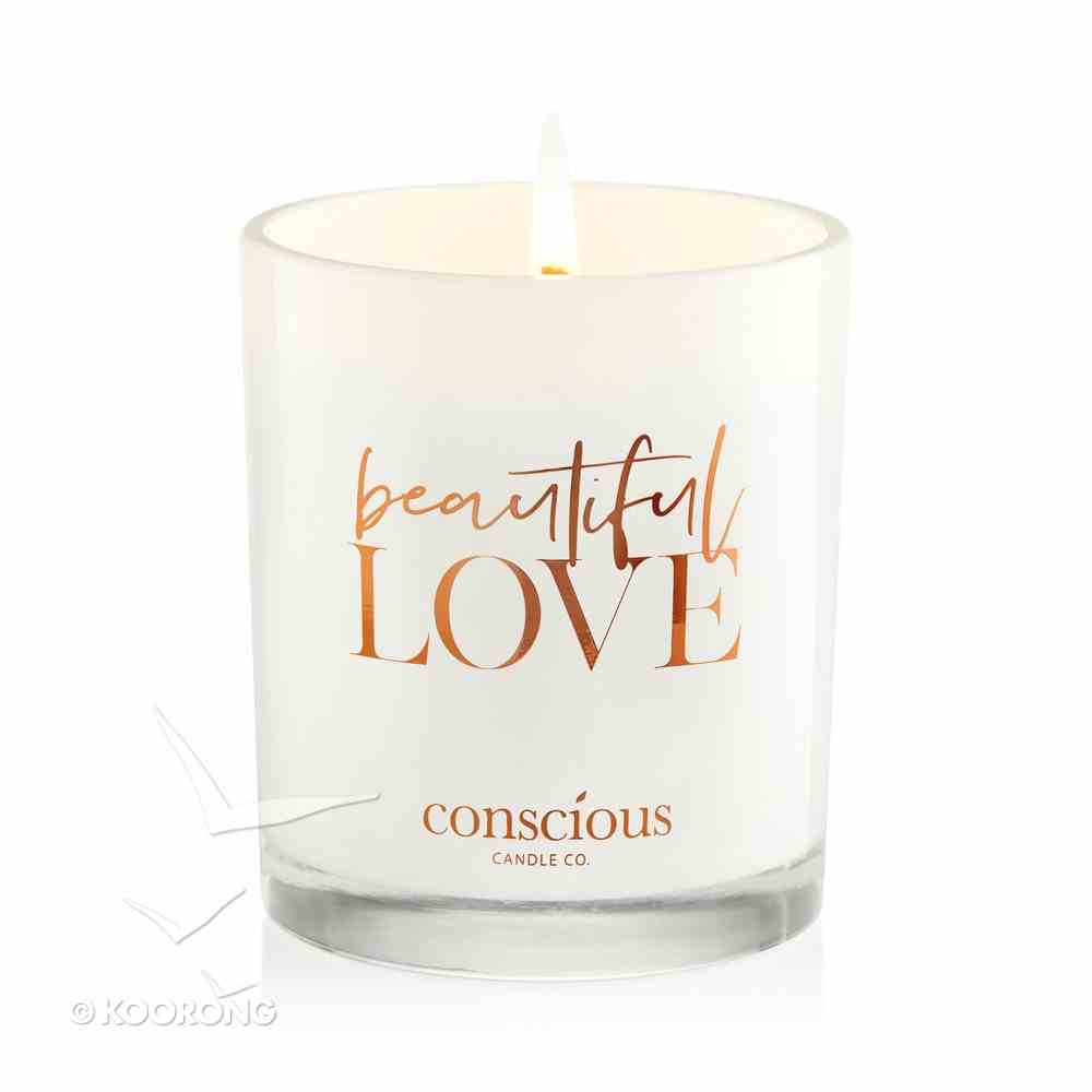 Luxury Soy Candle: Beautiful Love Triple Scented Marshmallow Rose, 55+ Hours Burn Time (1 Cor 13:4) Homeware