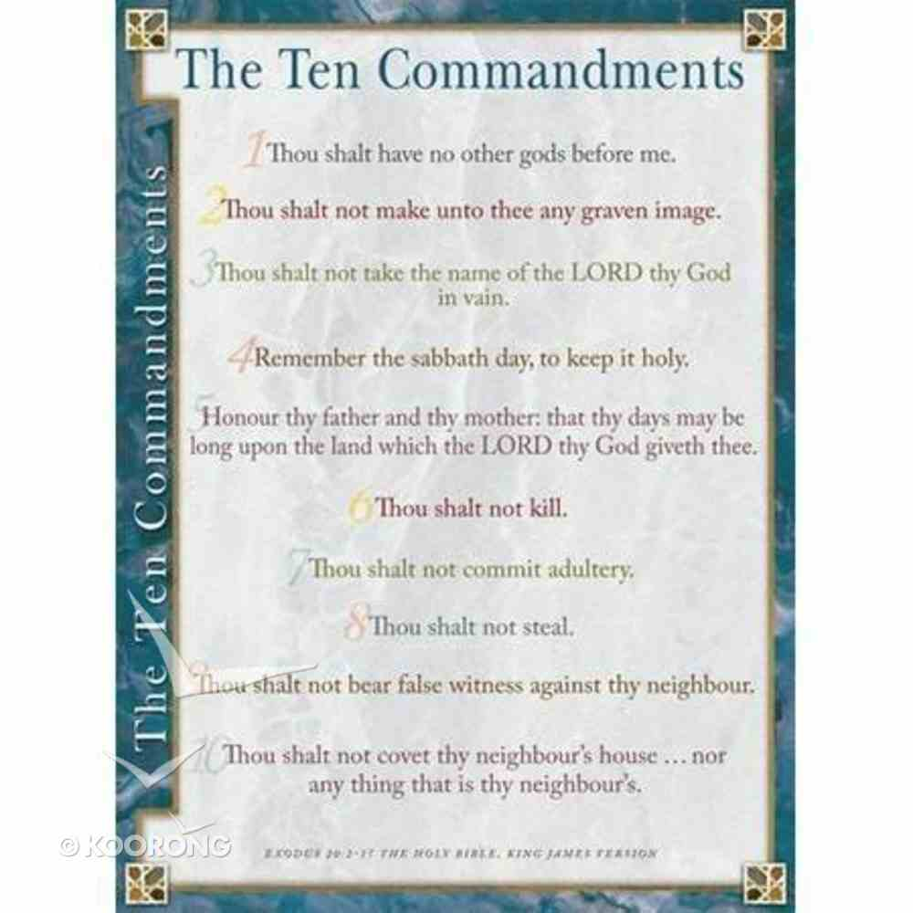 Wall Chart: Ten Commandments (Laminated) (Kjv) Chart/card