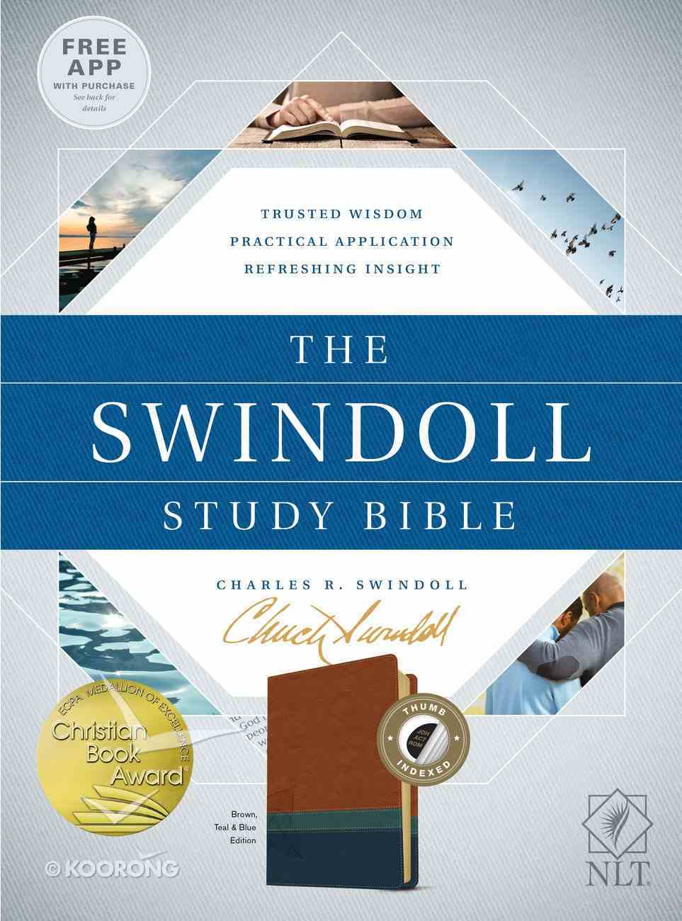 NLT the Swindoll Study Bible Brown/Teal Indexed (Black Letter Edition) Imitation Leather